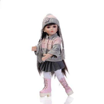 NPK 18Inch Realistic Reborn Baby Joint BJD Girl Doll Alive Soft Vinyl Toddler Princess Toy