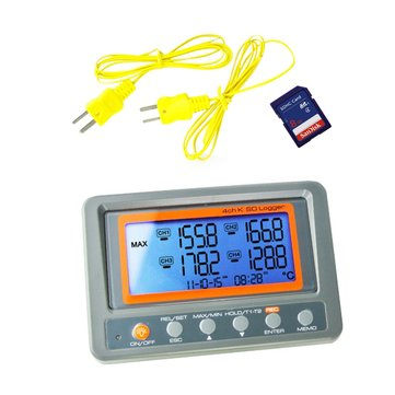 4 Channels -328 ~ 2498 Degree C / F K-type Thermocouple Thermometer SD Card 8GB Temperature Wallmount Recorder Thermometer
