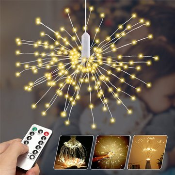 Battery Powered 150/180LED 8 Modes DIY Firework String Christmas Light with 13 Keys Remote Control