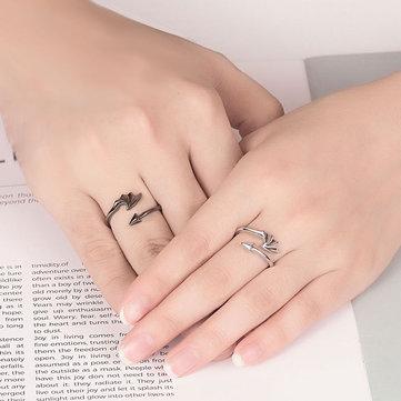 Vintage Open Couple Ring Retro Angels Demons Adjustable Finger Rings Ethnic Jewelry for Women Men