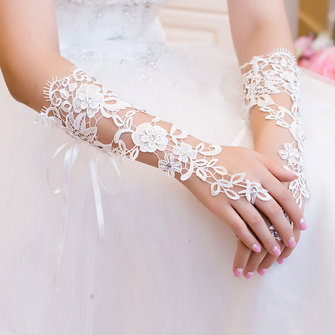 Buy Bridal Gloves Rhinestone Lace Flower White Bride Wedding Party Prom Dress Fingerless with Litecoins with Free Shipping on Gipsybee.com