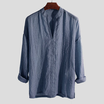 Men Linen Solid Color Breathable Thin Shirts