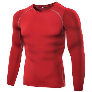 पुरुषों फिटनेस चड्डी लोचदार Wicking लंबी आस्तीन टी शर्ट बास्केट बॉल रनिंग प्रशिक्षण शीर्ष
