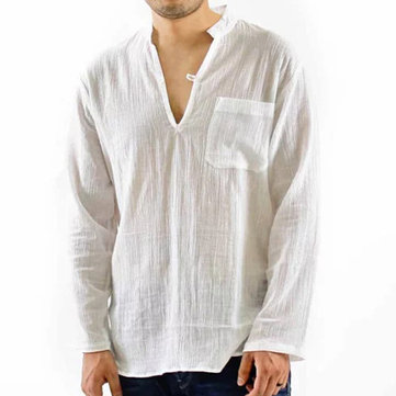 Mens Vintage Breathable Thin V-neck Solid Color Loose Casual Shirts with Chest Pocket