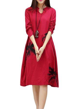 विंटेज महिला एथनिक प्रिंटिंग पॉकेट लंबी बाजू की पोशाक