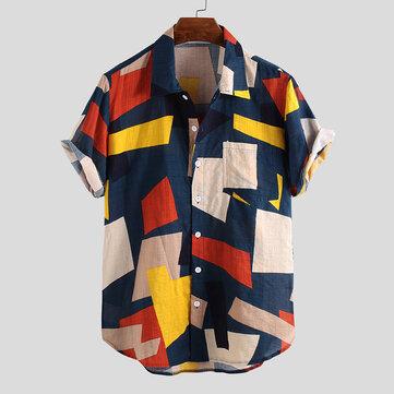 Mens Summer Hit Color Printed Chest Pocket Short Sleeve Loose Colorful Shirts