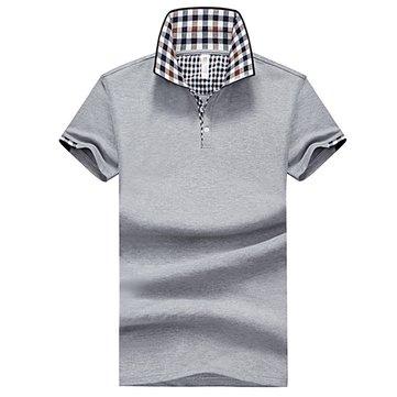 पुरुषों लापेल लघु आस्तीन टी शर्ट स्लिम ठोस रंग गोल्फ शर्ट प्लेड कॉलर टीज़
