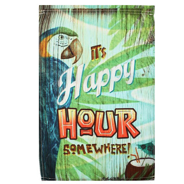 """Details about  /12/"""" X 18/"""" HAPPY HOUR W// PARROT POLYESTER GARDEN FLAG"""