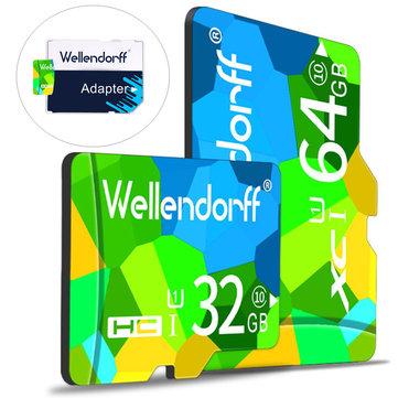 Wellendorff 4GB 8GB 16GB 32GB 64GB Clase 10 Tarjeta de memoria TF de alta velocidad con adaptador de tarjeta