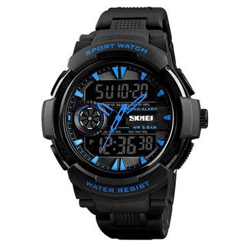 SKMEI 1320 Dual Display Digital Watch Men Chronograph Alarm Watch Fashion Waterproof Sport Watch