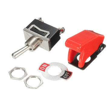 Excellway® 12V Heavy Duty Toggle Switch Flick ON / OFF Chave de luz para barco de carro Spst com tampa de míssil