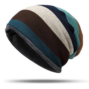 Women Mens Knitted Stripe Beanie Hat Outdoor Autumn Warm Cap Scarf Dual Use