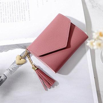 Women Faux Leather Tassel Mini Short 6 Card Slot Wallet