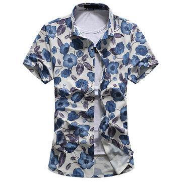 प्लस आकार आरामदायक फैशन गर्मियों में समुद्र तट नरम पुष्प मुद्रण लघु आस्तीन पोशाक शर्ट पुरुषों क