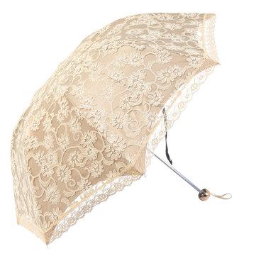 Women Sun Rain Umbrella Compact Lace Three Folding Anti-UV Waterproof Sunshade Umbrellas