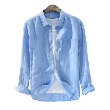 Mens Classic Korta mode andas bomullslinne Långärmad enkbröst Fit T-shirts