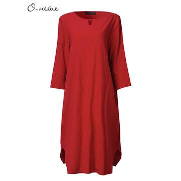 एल -5 एक्सएल महिला आरामदायक शुद्ध रंग ओ-गर्दन आधा आस्तीन पोशाक