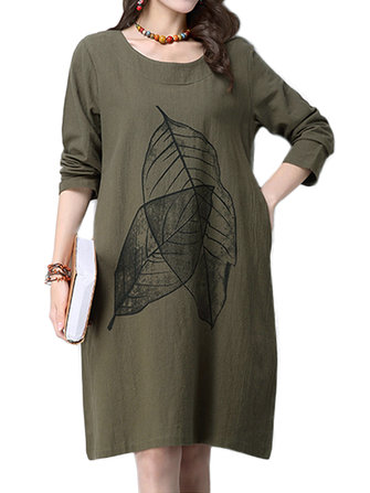 सुरुचिपूर्ण महिला लीफ प्रिंटिंग पॉकेट कपास लिनन ए-लाइन ड्रेस