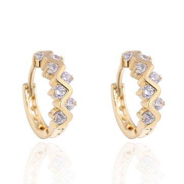 Kuniu Elegant Gold Plated Crystal Rhinestone Hoop Earrings For Women