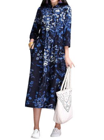 विंटेज महिला जातीय शैली चीनी मेंढक मुद्रित लंबी आस्तीन पोशाक