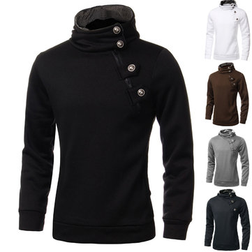 Buy These mens pullover hoodies are realy fashionable and good quality.mens pullover hoodies with slim fit and diagonal zipper decorate have a low price for wholesale.... with Litecoins with Free Shipping on Gipsybee.com
