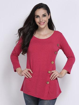 बटन असममित लंबी आस्तीन शुद्ध रंग दौर गर्दन महिला टी शर्ट