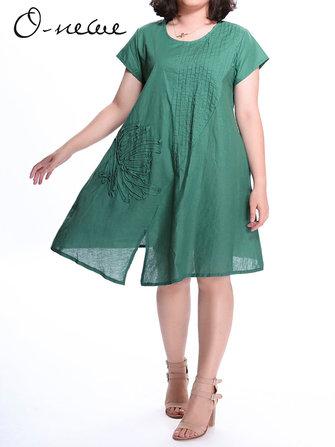 विंटेज महिला रफल कढ़ाई अनियमित स्प्लिट ड्रेस