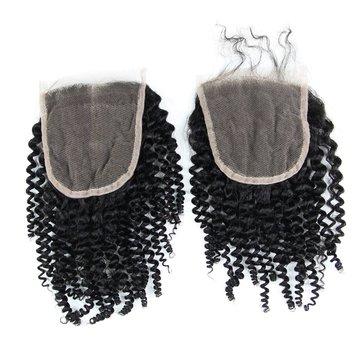 6A 4X4 Keriting keriting Virgin Hair Lace Closure Wave Brazilian Human Hair Closures Free Middle Par