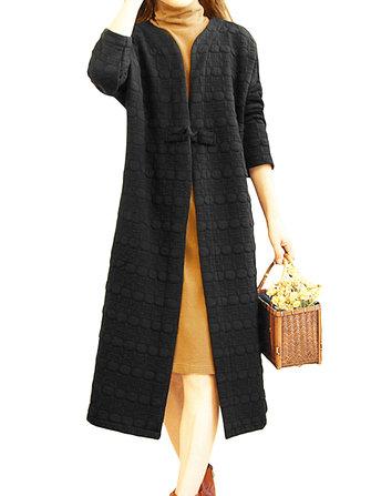 आरामदायक महिला चीनी मेंढक लंबी कोट्स