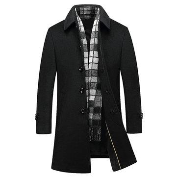 Abrigo largo de lana con estilo de negocios negro Abrigo largo con cordones de lana para hombres