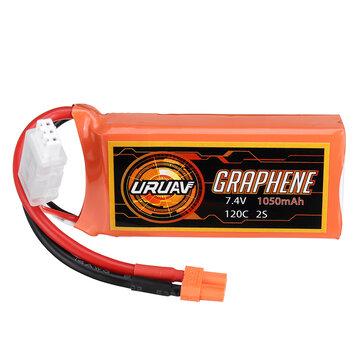 URUAV GRAPHENE 2S 7.4V 1050mAh 120C Lipo Battery XT30 Plug for FPV RC Racing Drone