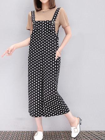 Large Size Women Set Suit Pure Color Top with White Dots Pockets Jumpsuits