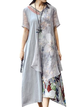 ヴィンテージ女性Vネックプリントパッチワーク半袖ドレス