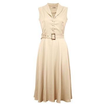 बेल्ट के साथ महिला स्विंग पार्टी ड्रेस लैपल आस्तीन बटन कपड़े