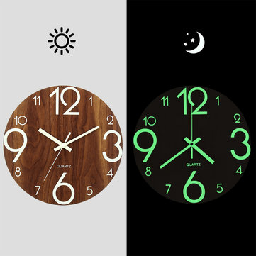 "12"" Luminous Wall Clock Quartz Wooden Silent Non Ticking Dark Home Room Decor"