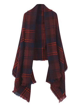 Mulheres Multicolor Plaid Striped Fringed Tassel Blanket Wrap