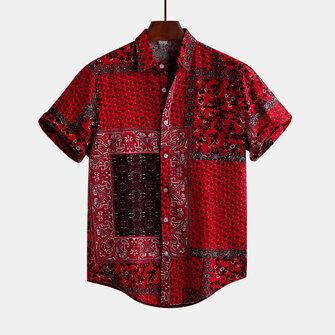 Mens Röd Tryckt Sommar Kortärmad Etnisk Stil Lösa Casual Skjortor