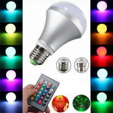 10W E27 B22 RGB Mudança De Cor LED Lâmpada 480-520LM Inundação De Ponto De Luz Controle Remoto AC 85-265 V