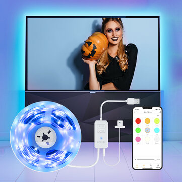 BlitzWolf® BW_LT32 Pro Smart USB RGB TV Strip Light Kit 2M with Sync with Screen Color APP Remote Control Voice Control Multiple Scene Modes and Schedules Setting