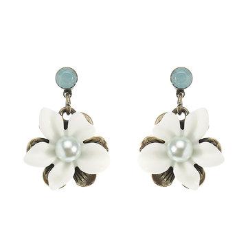 JASSY® Retro Pearl Antique Bronze Ear Drop White Gemstone Flower Earrings Best Gift for Women