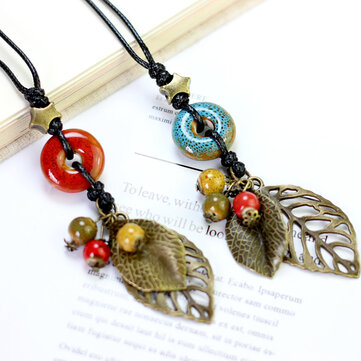 Ethnic Pendant Handmade Beads Necklace Leaves Charm Necklace Vintage Jewelry for Women