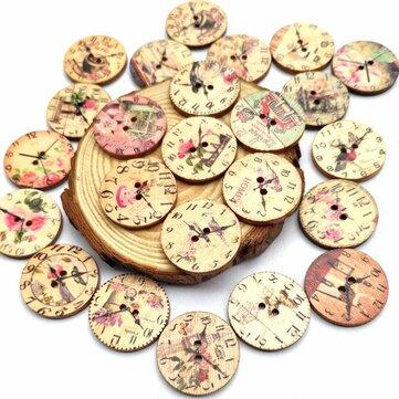 50 UNIDS 25 MM 2 Agujeros Decorativos Reloj Patrón Registro Pintado Forma Redonda Sujetadores Botones para Manualidades Costura Scrapbooking