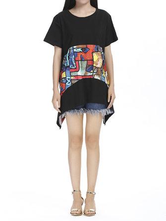 आकस्मिक महिला लघु आस्तीन सार मुद्रण अनियमित मिनी पोशाक