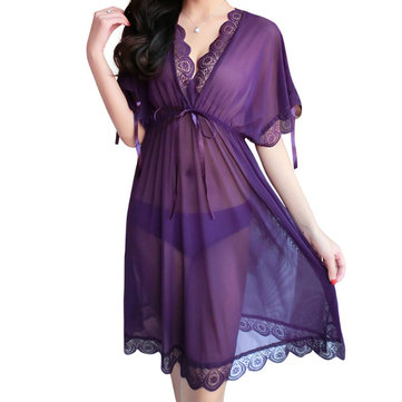 Woman See-through Lace Temptation Straps Half Sleeve Nightgown G String