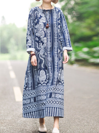 Women Folk Style Retro Buckle Cotton Linen Printed Long Sleeve Robe Dress