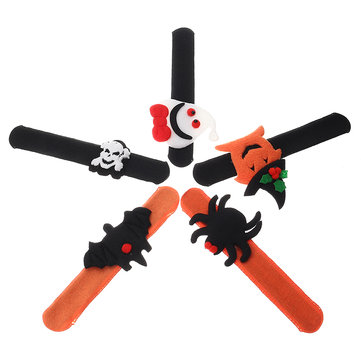 Pumpkin Spider Ghost Slap Bracelet Halloween Snap Slip Wristband Party Decoration for Kid