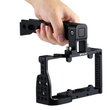 PULUZ PU3020B Aluminum Alloy Video Camera Cage Protector Handle Stabilizer for Sony A6300 A6000