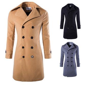 शरद ऋतु सर्दियों पुरुषों की बारी-डाउन कॉलर गर्म लंबी खाई कोट फैशन आकस्मिक शैली मटर कोट