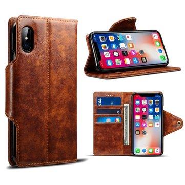 Vintage Leather Magnetisk Buckle Flip Lommebok Kickstand Case For iPhone X