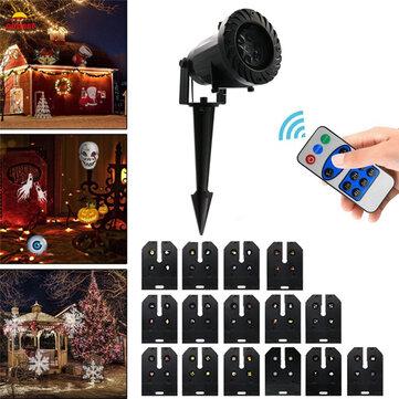 15 patrones 6W LED Control remoto Proyector Luz de etapa al aire libre Navidad Decoración de Halloween AC100-240V